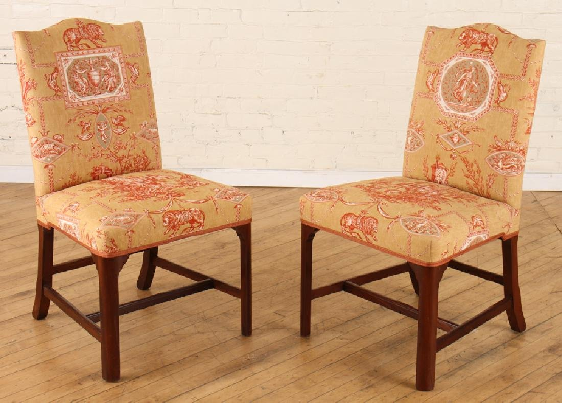 PAIR MAHOGANY SIDE CHAIRS CLASSICAL UPHOLSTERY