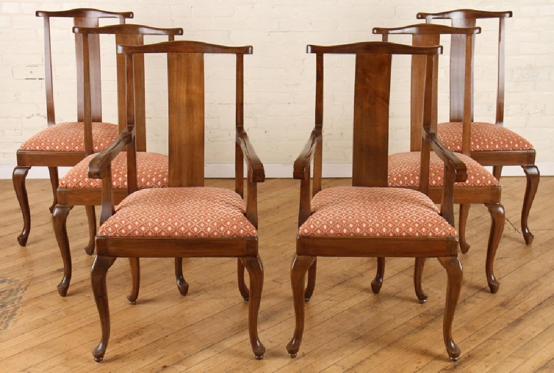 SET 6 QUEEN ANNE STYLE WALNUT DINING CHAIRS