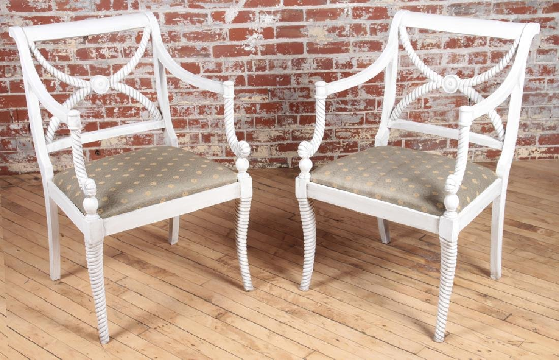 PAIR PAINTED OPEN ARM SIDE CHAIRS
