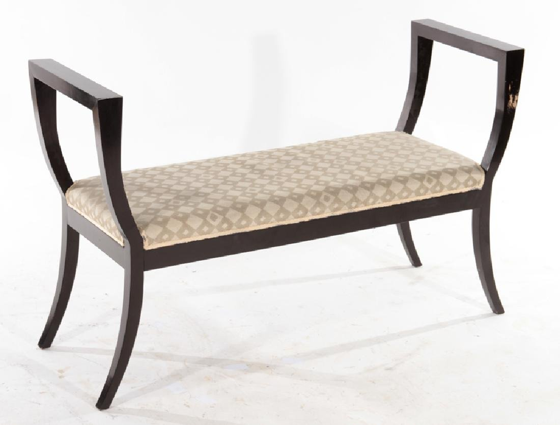 EBONIZED WOOD BENCH WITH UPHOLSTERED CUSHION