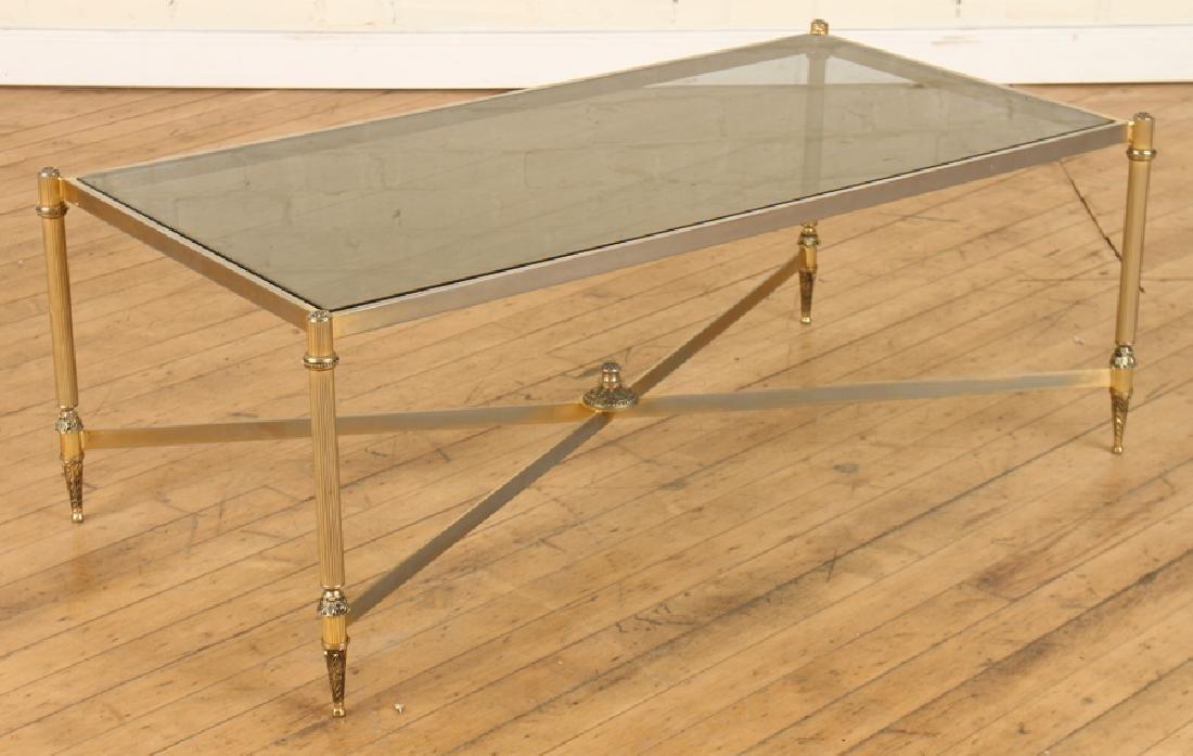 BRASS GLASS TOP COFFEE TABLE X-FORM STRETCHER