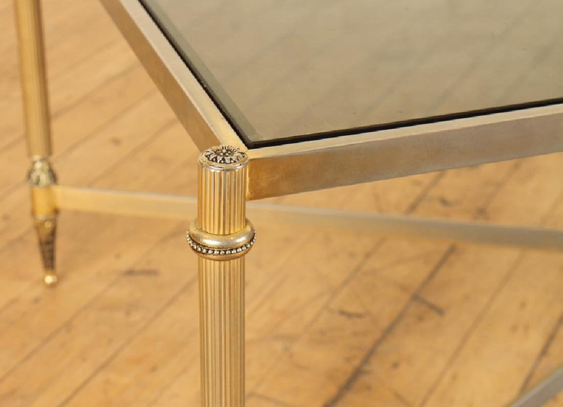BRASS GLASS TOP COFFEE TABLE X-FORM STRETCHER - 4