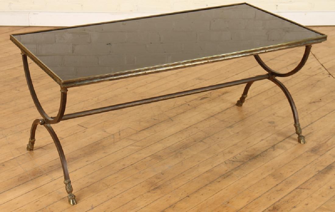 GILT IRON COFFEE TABLE BLACK GLASS TOP C. 1960
