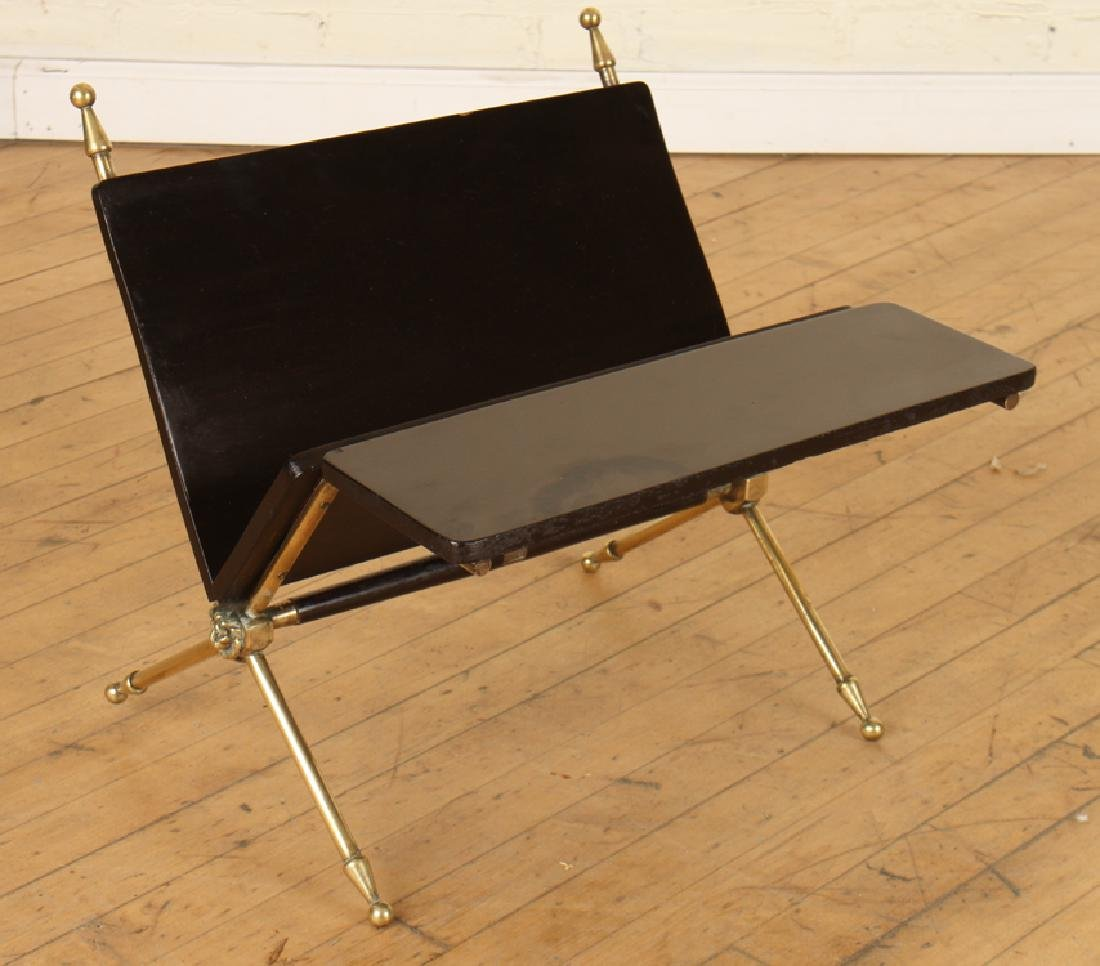 EBONIZED WOOD AND BRASS MAGAZINE RACK C. 1950