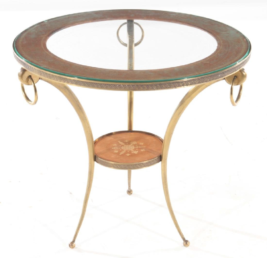CIRCULAR BRONZE AND GLASS FRENCH END TABLE