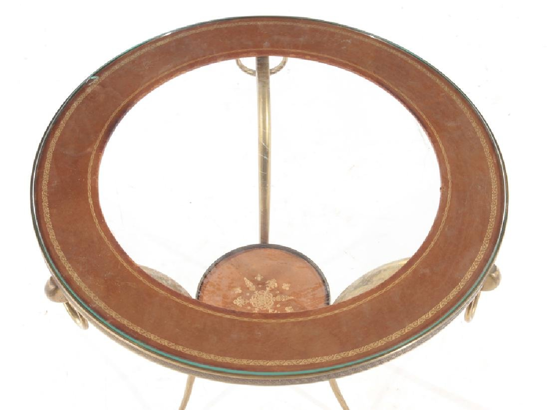 CIRCULAR BRONZE AND GLASS FRENCH END TABLE - 2