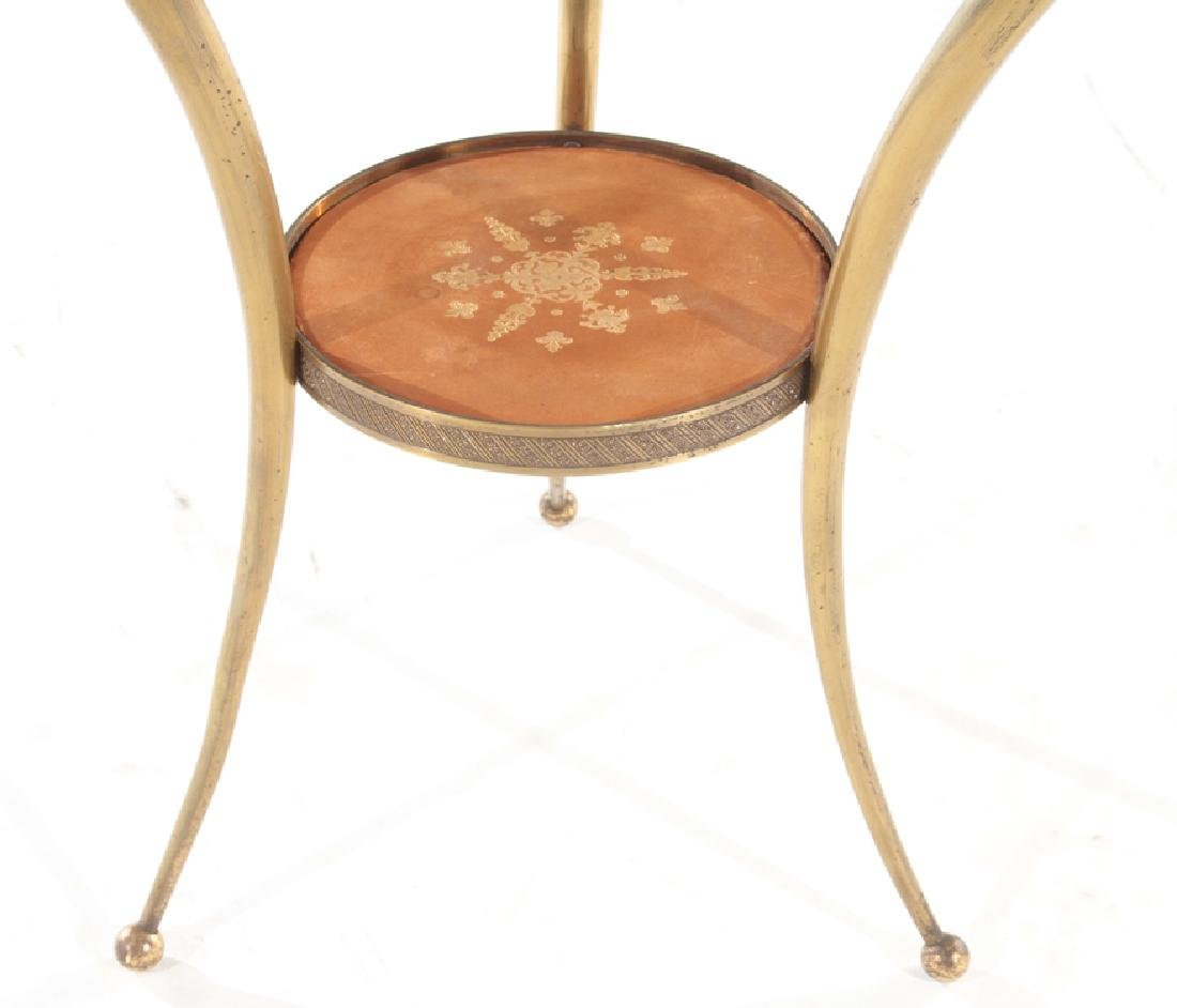 CIRCULAR BRONZE AND GLASS FRENCH END TABLE - 4