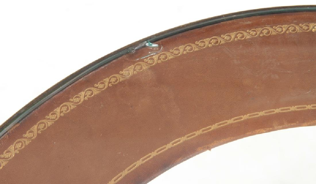 CIRCULAR BRONZE AND GLASS FRENCH END TABLE - 5