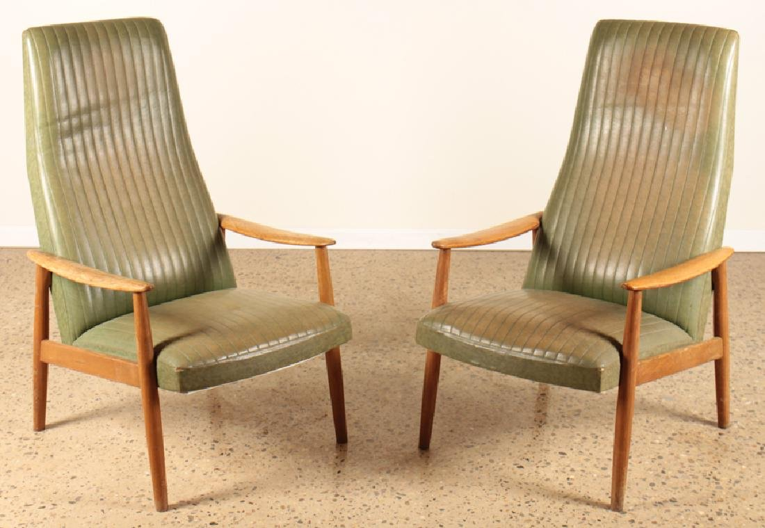 PAIR MCM DANISH ARM CHAIRS LEATHER AND OAK FRAME