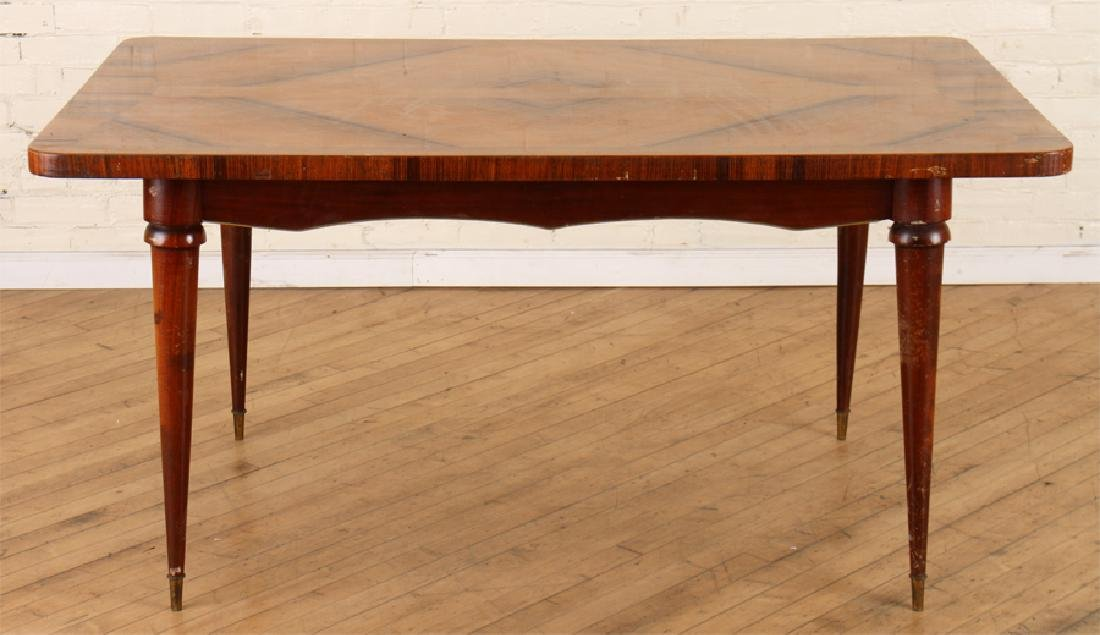BRONZE MOUNTED ITALIAN TEAK MAHOGANY DINING TABLE