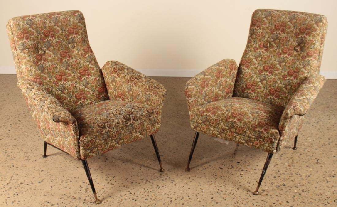 PAIR ITALIAN FLARED ARM LOUNGE CHAIRS C.1960