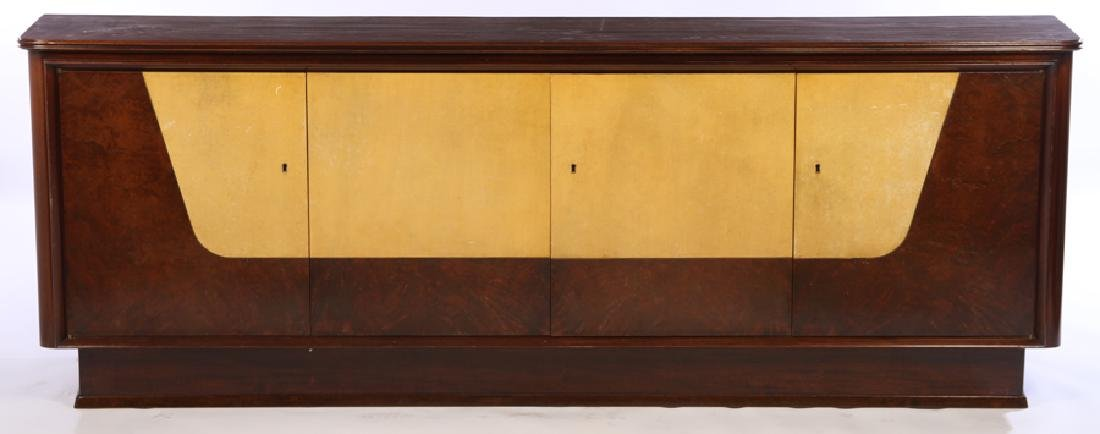 MAHOGANY PARCHMENT 4 DOOR SIDEBOARD FITTED DRAWER