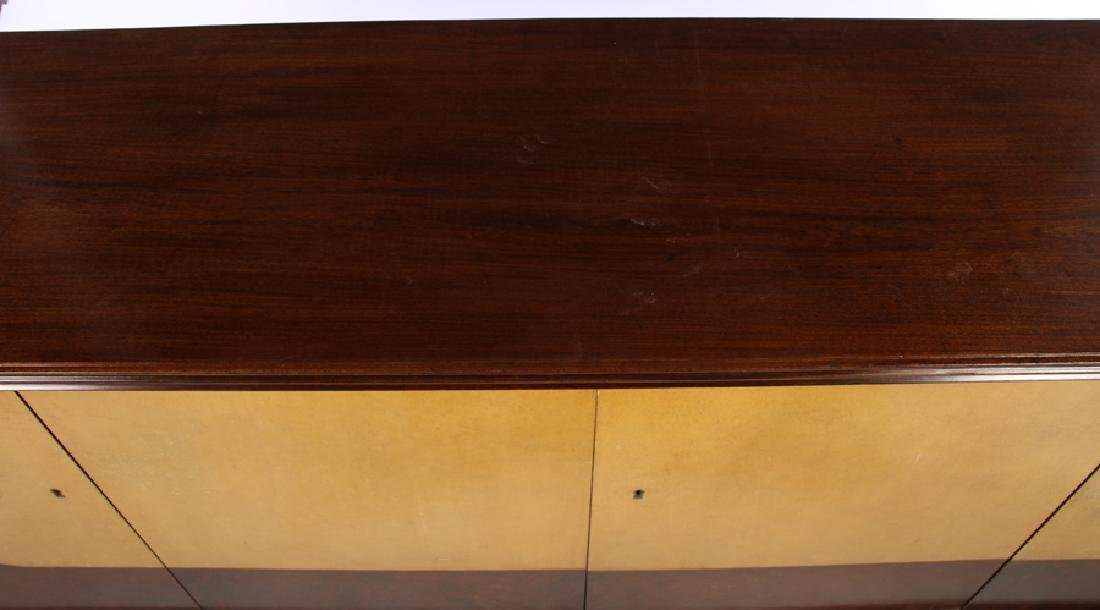 MAHOGANY PARCHMENT 4 DOOR SIDEBOARD FITTED DRAWER - 2