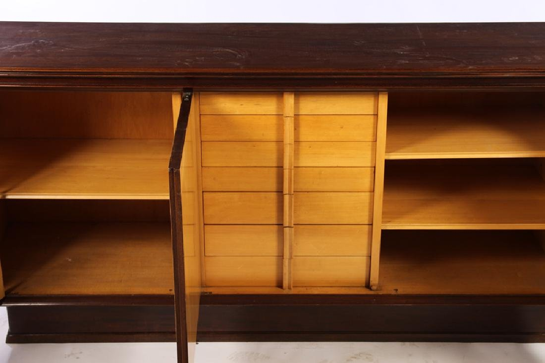 MAHOGANY PARCHMENT 4 DOOR SIDEBOARD FITTED DRAWER - 4