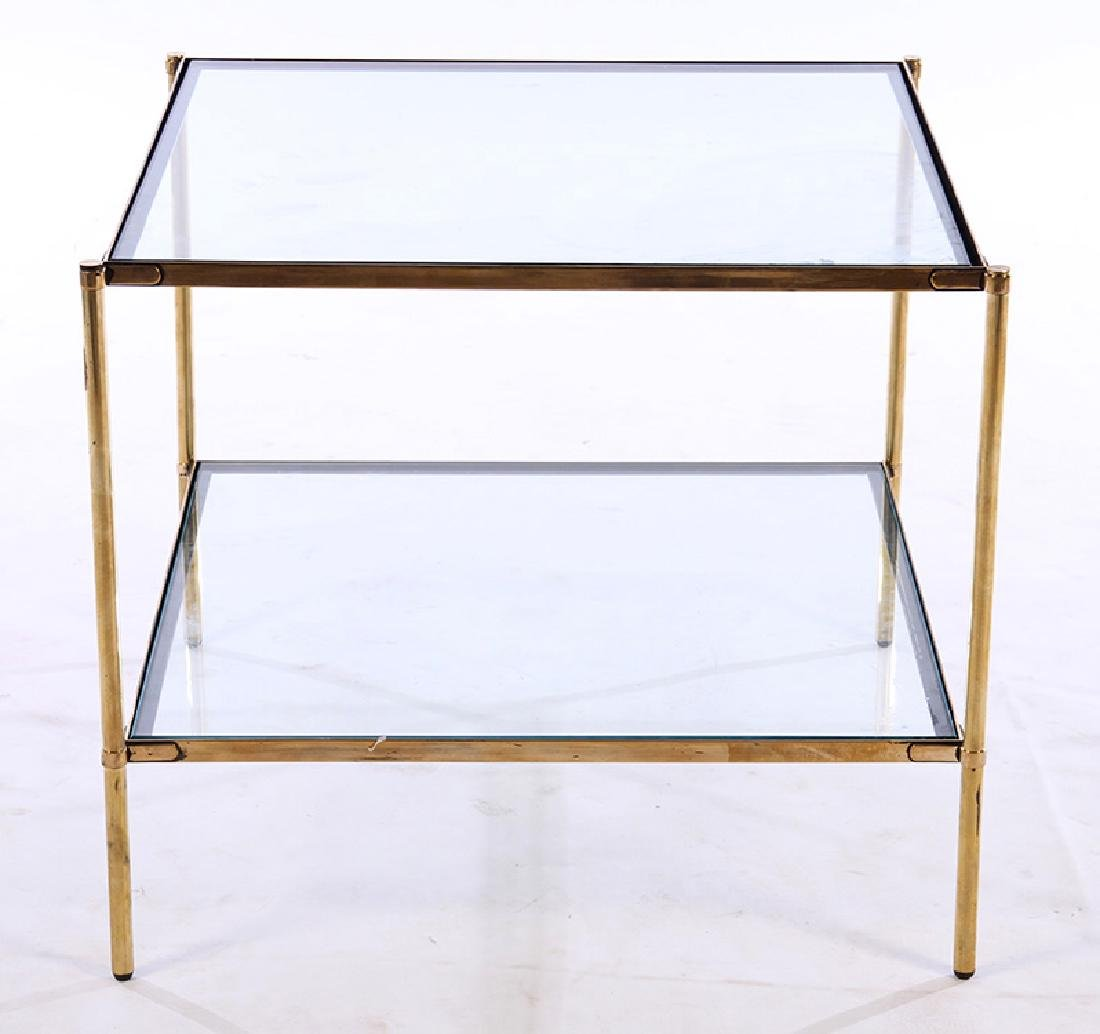 ITALIAN DELL'ACQUA BRASS SIDE TABLE 2 TIER 1970