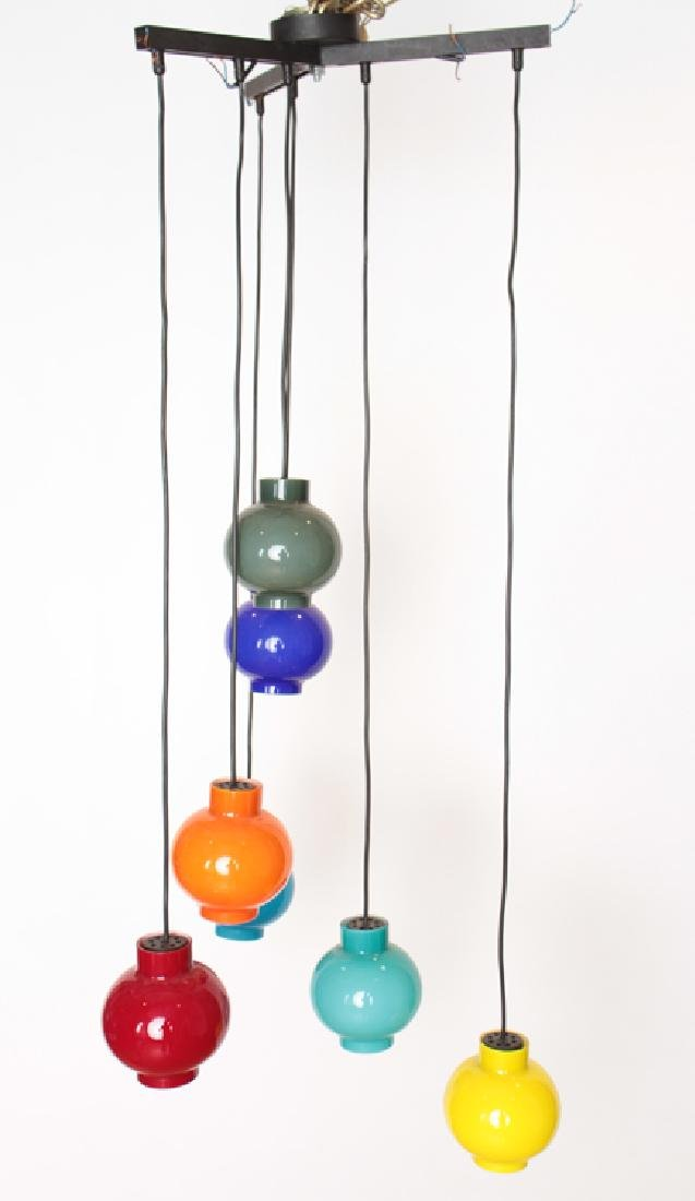 ITALIAN 7 LIGHT CHANDELIER WITH COLORED GLOBES