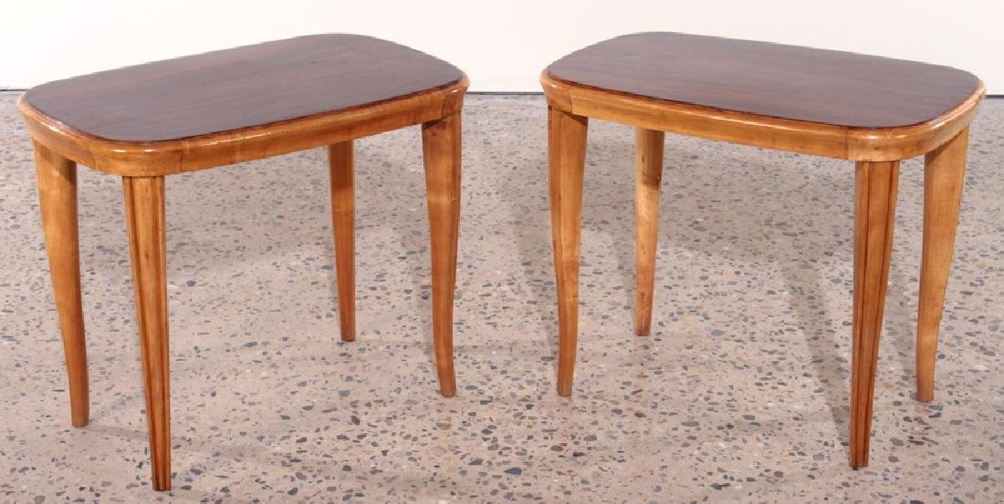 PAIR AFRICAN MAHOGANY ITALIAN END TABLES C.1960