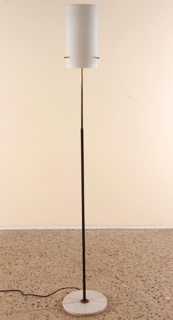 ITALIAN BRONZE IRON FLOOR LAMP GLASS SHADE C.1960