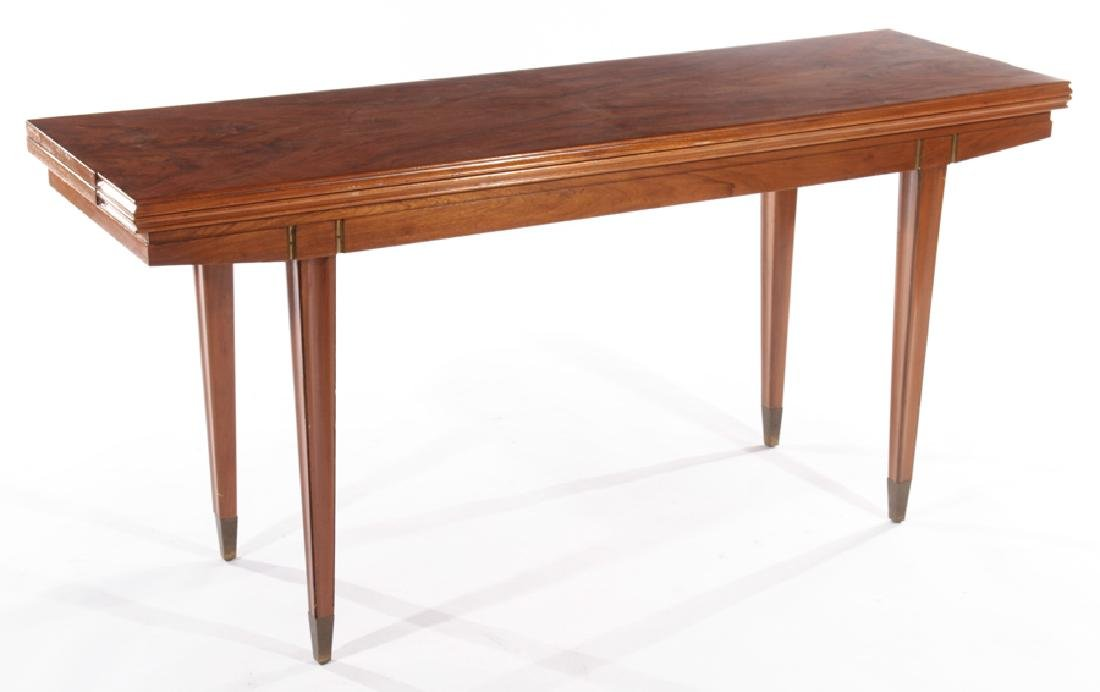 ITALIAN FLIP TOP WALNUT CONSOLE TABLE 1960