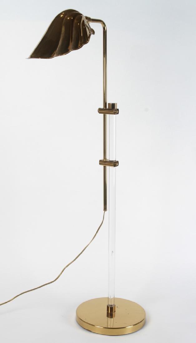 MID CENTURY MODERN BRASS AND LUCITE FLOOR LAMP