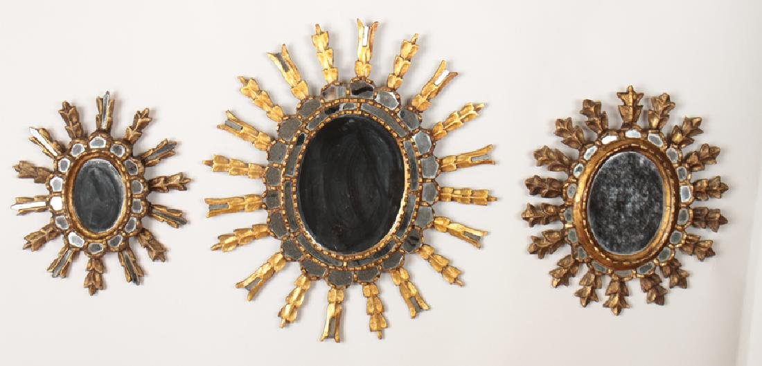 SET 3 GILT WOOD AND GLASS SUNBURST MIRRORS