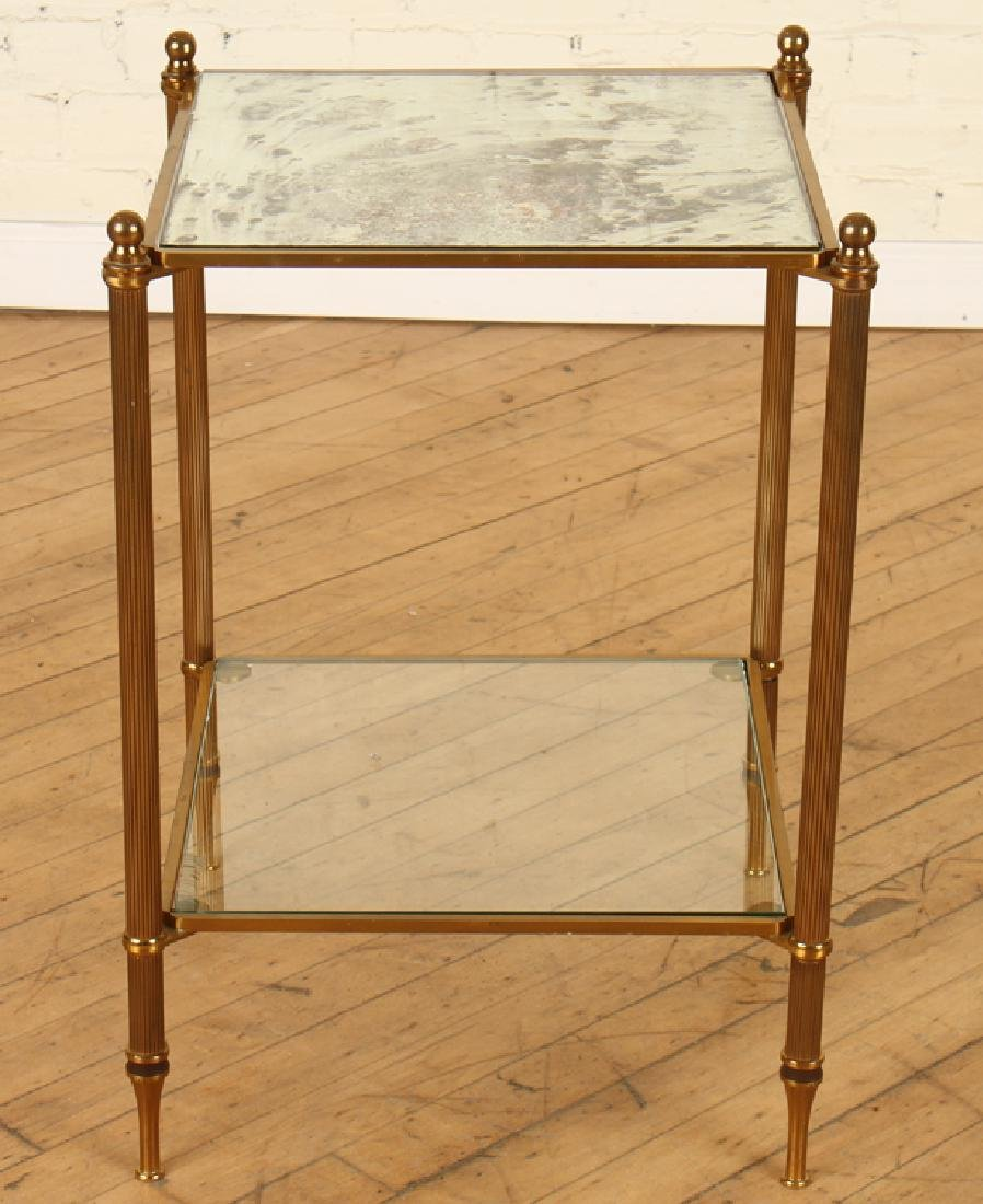 BRASS 2 TIER SIDE TABLE WITH MIRRORED TOP