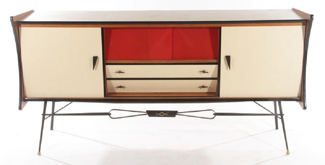 FRENCH IRON FORMICA SIDEBOARD RED GLASS DOORS