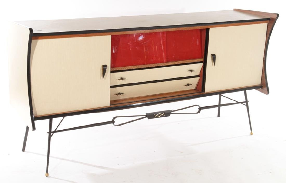 FRENCH IRON FORMICA SIDEBOARD RED GLASS DOORS - 2
