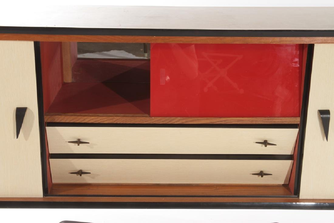 FRENCH IRON FORMICA SIDEBOARD RED GLASS DOORS - 4