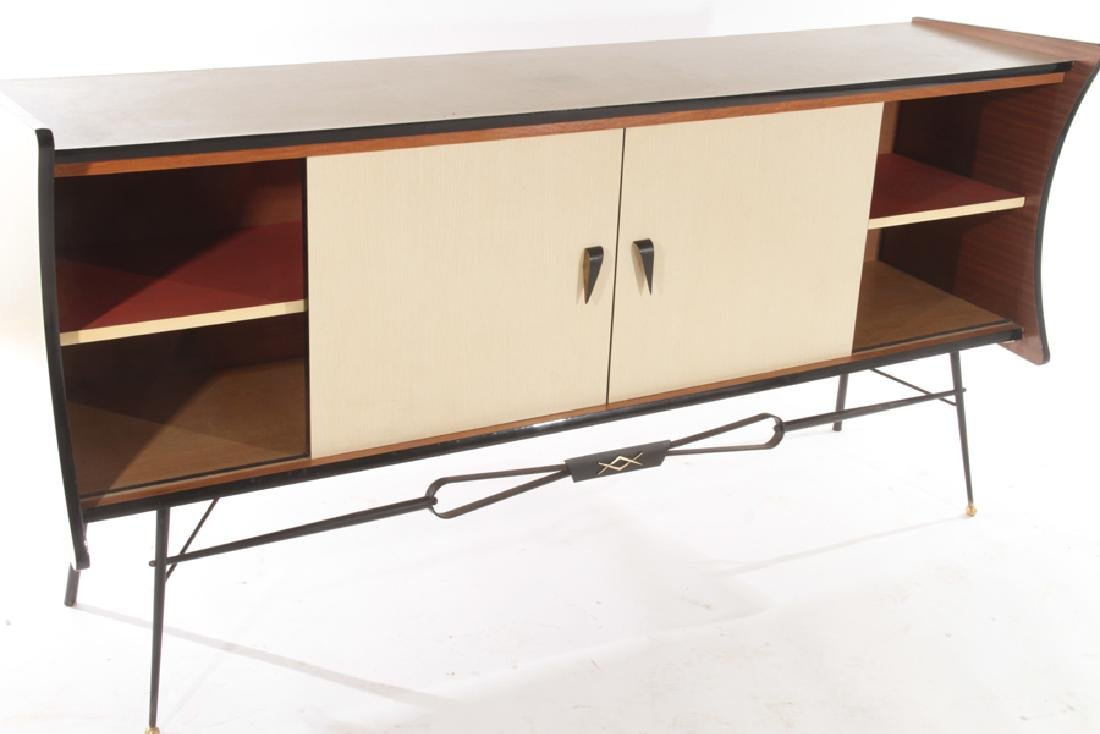 FRENCH IRON FORMICA SIDEBOARD RED GLASS DOORS - 6