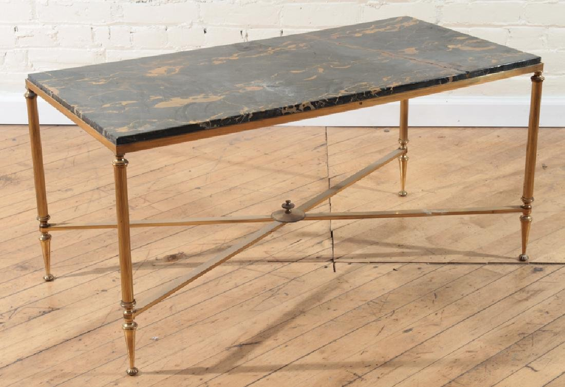 NEOCLASSICAL STYLE BRONZE MARBLE TOP COFFEE TABLE