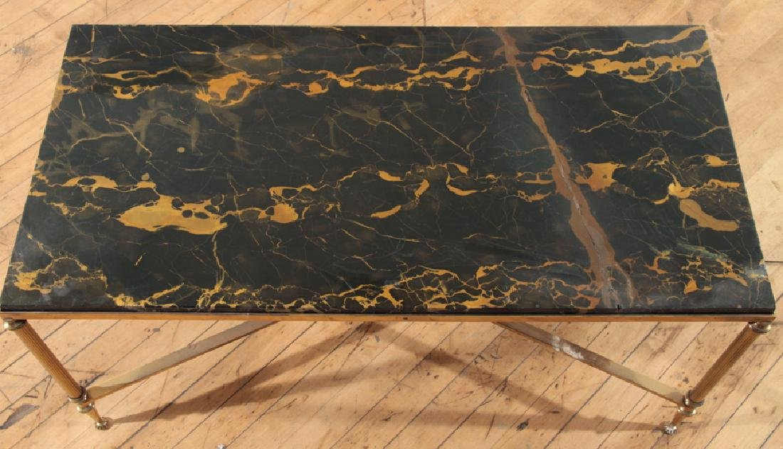 NEOCLASSICAL STYLE BRONZE MARBLE TOP COFFEE TABLE - 3
