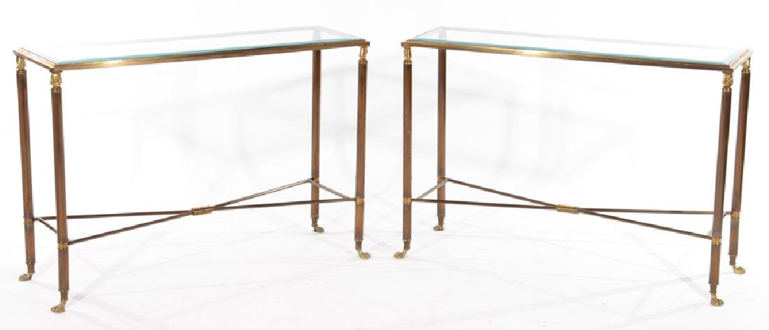 PAIR EMPIRE STYLE BRASS IRON CONSOLE TABLES 1980