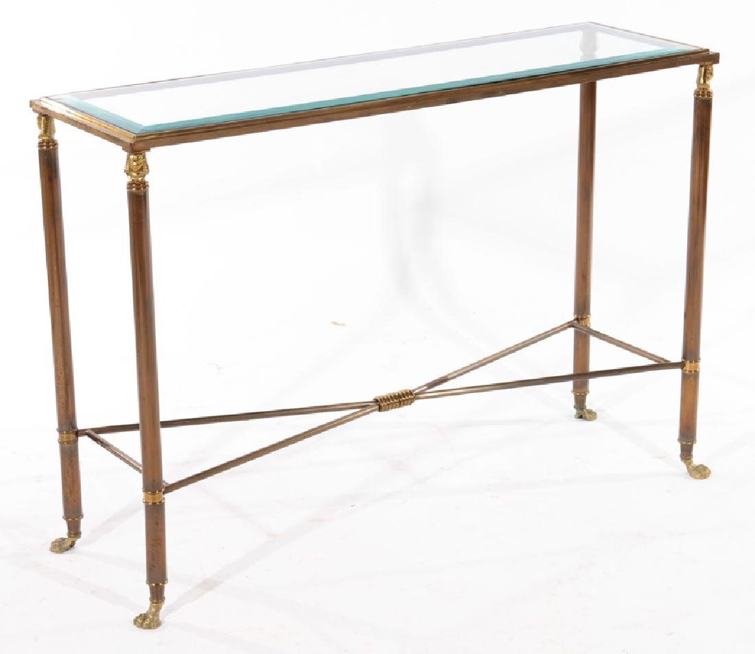 PAIR EMPIRE STYLE BRASS IRON CONSOLE TABLES 1980 - 2