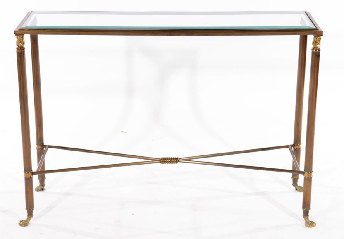 PAIR EMPIRE STYLE BRASS IRON CONSOLE TABLES 1980 - 3