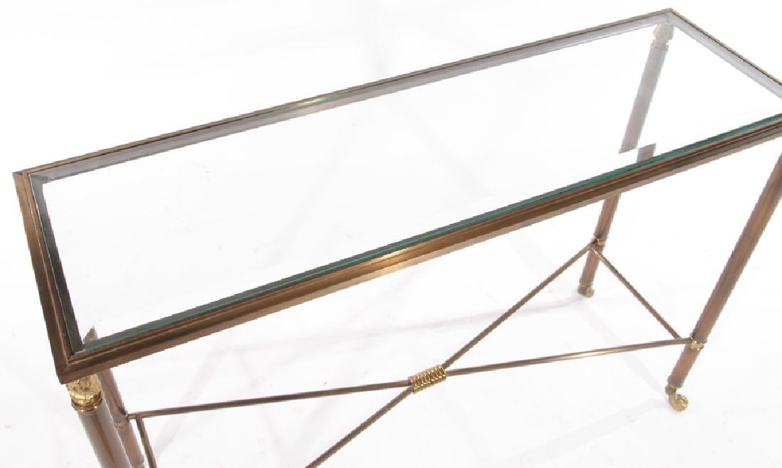 PAIR EMPIRE STYLE BRASS IRON CONSOLE TABLES 1980 - 4