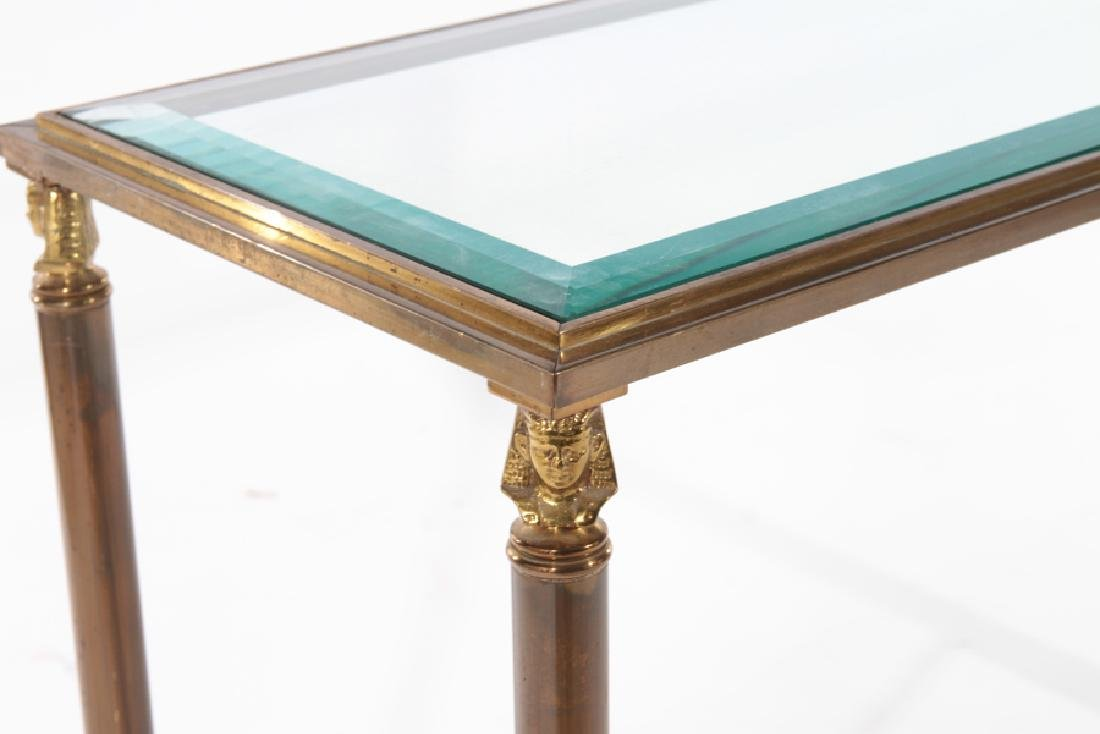 PAIR EMPIRE STYLE BRASS IRON CONSOLE TABLES 1980 - 5