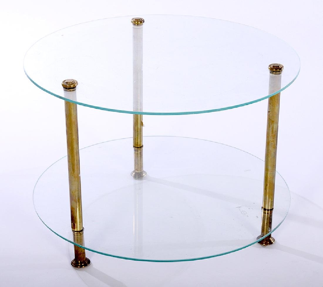 A ROUND BRASS & GLASS 2 TIER END TABLE 1970