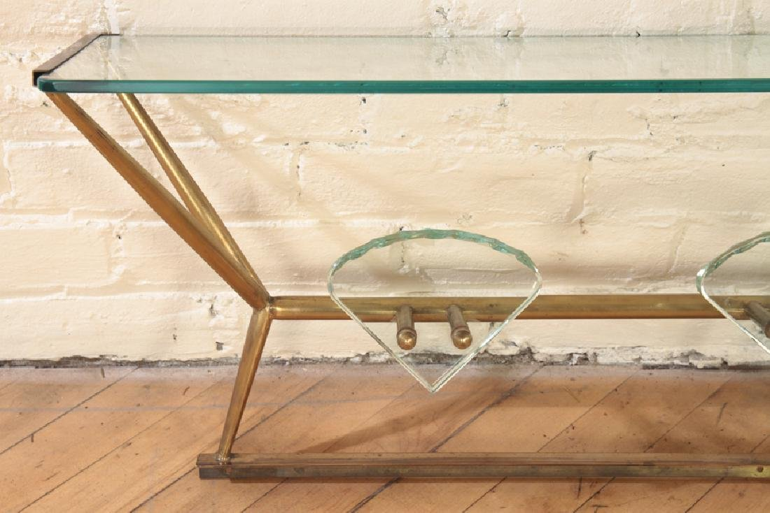 ITALIAN BRONZE GLASS WALL HANGING HAT RACK - 3