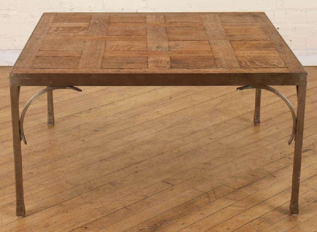 MID CENTURY MODERN STEEL COFFEE TABLE OAK TOP