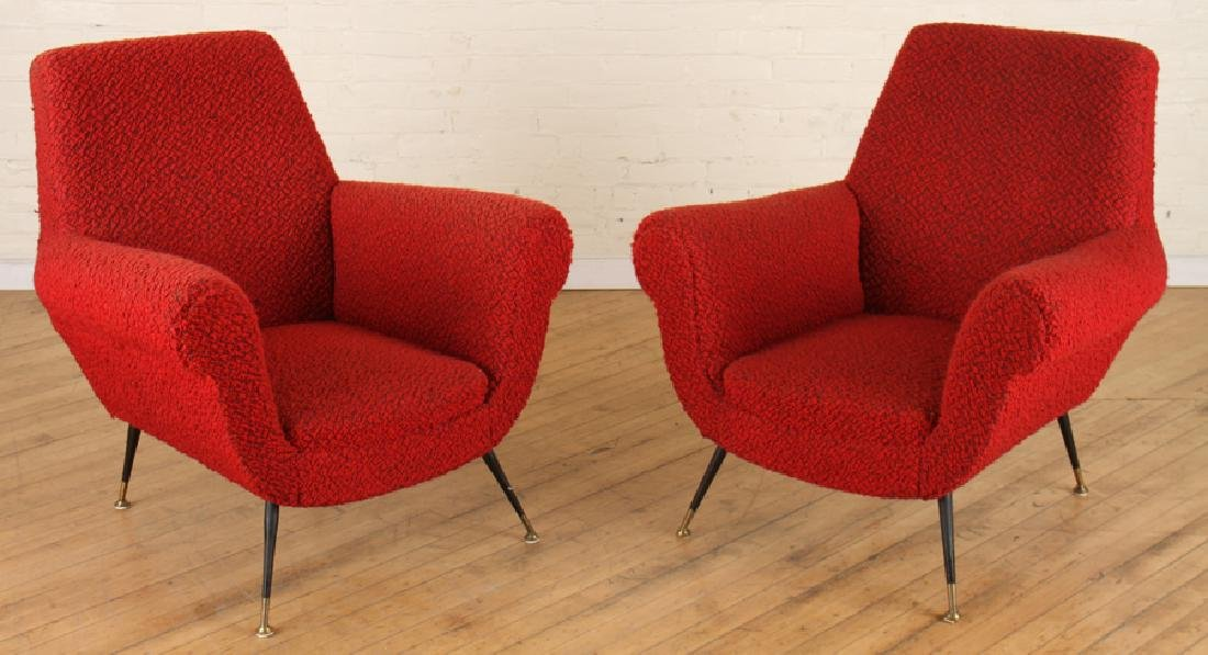 PAIR MID CENTURY MODERN UPHOLSTERED ARM CHAIRS