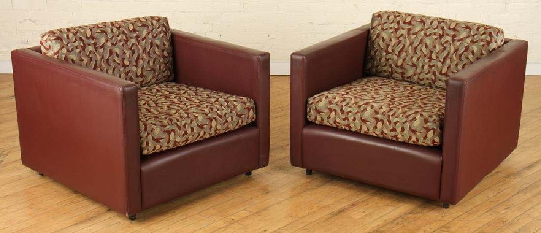 PAIR LABELED KNOLL STITCHED LEATHER CHAIRS