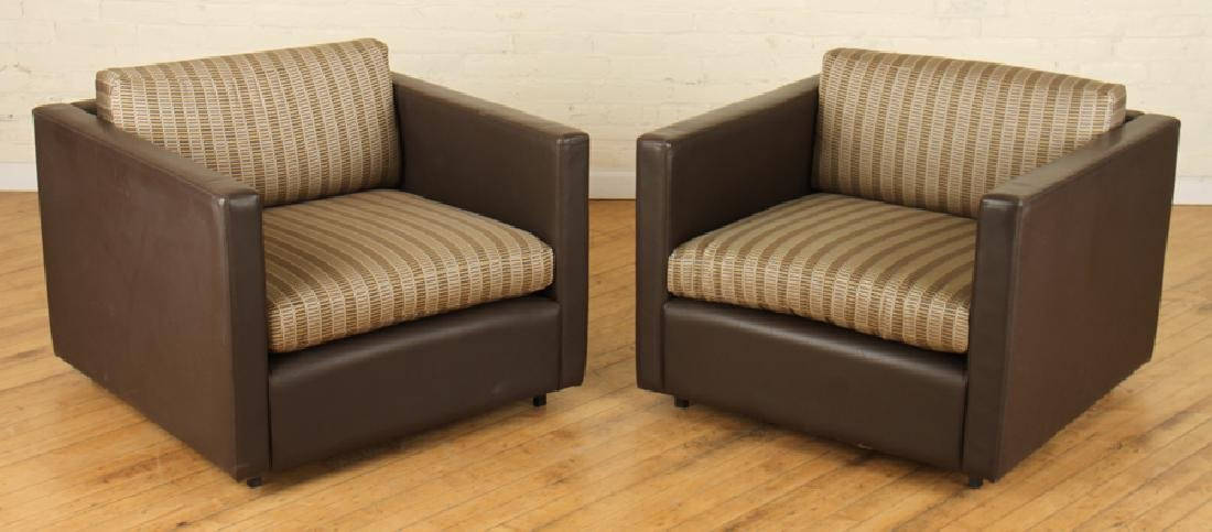 PAIR LABELED KNOLL STITCHED BROWN LEATHER CHAIRS