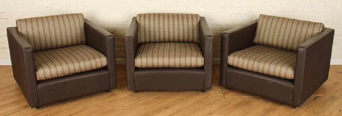 SET 3 LABELED KNOLL STITCHED BROWN LEATHER CHAIRS