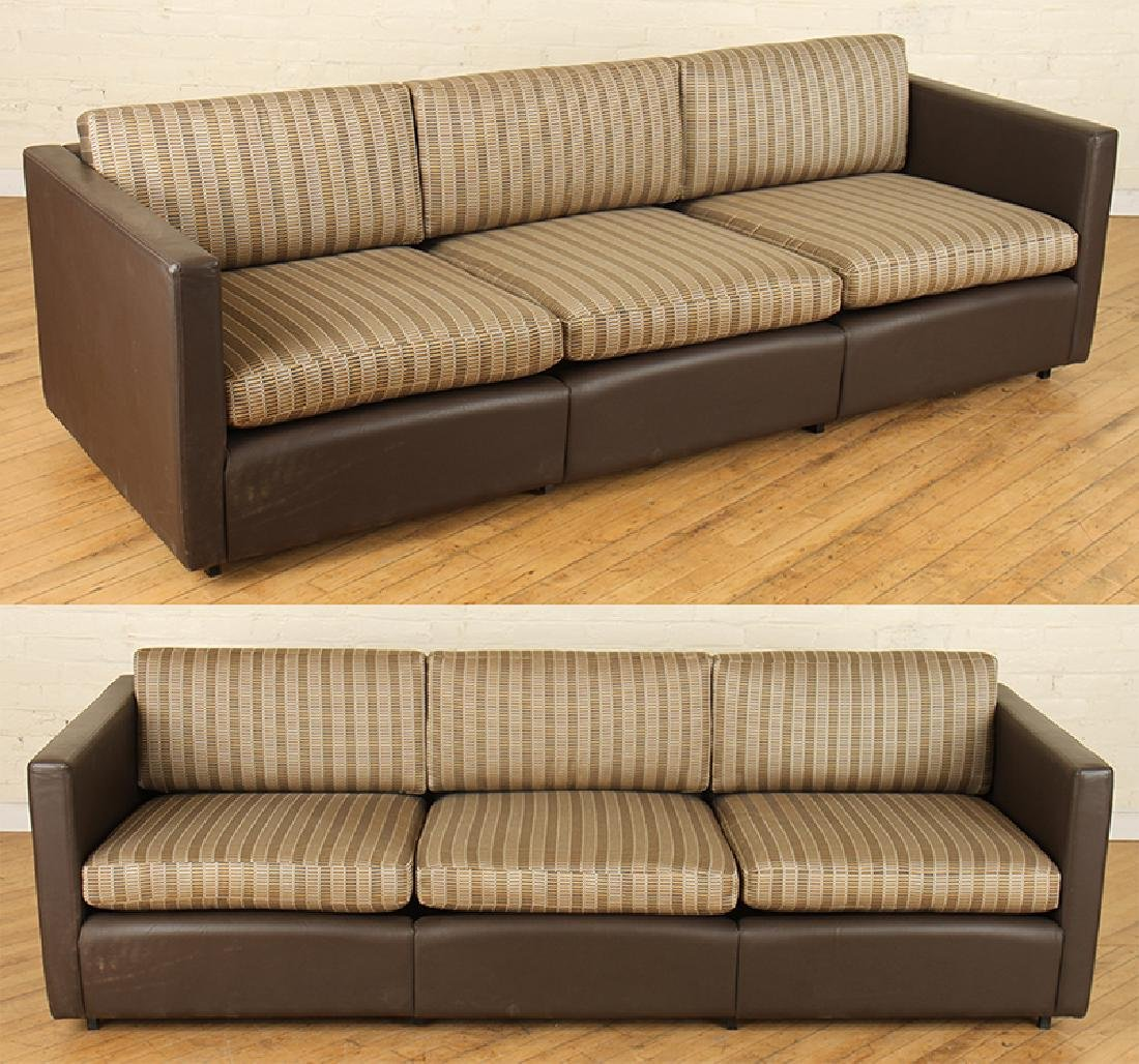 PAIR LABELED KNOLL STITCHED BROWN LEATHER SOFAS