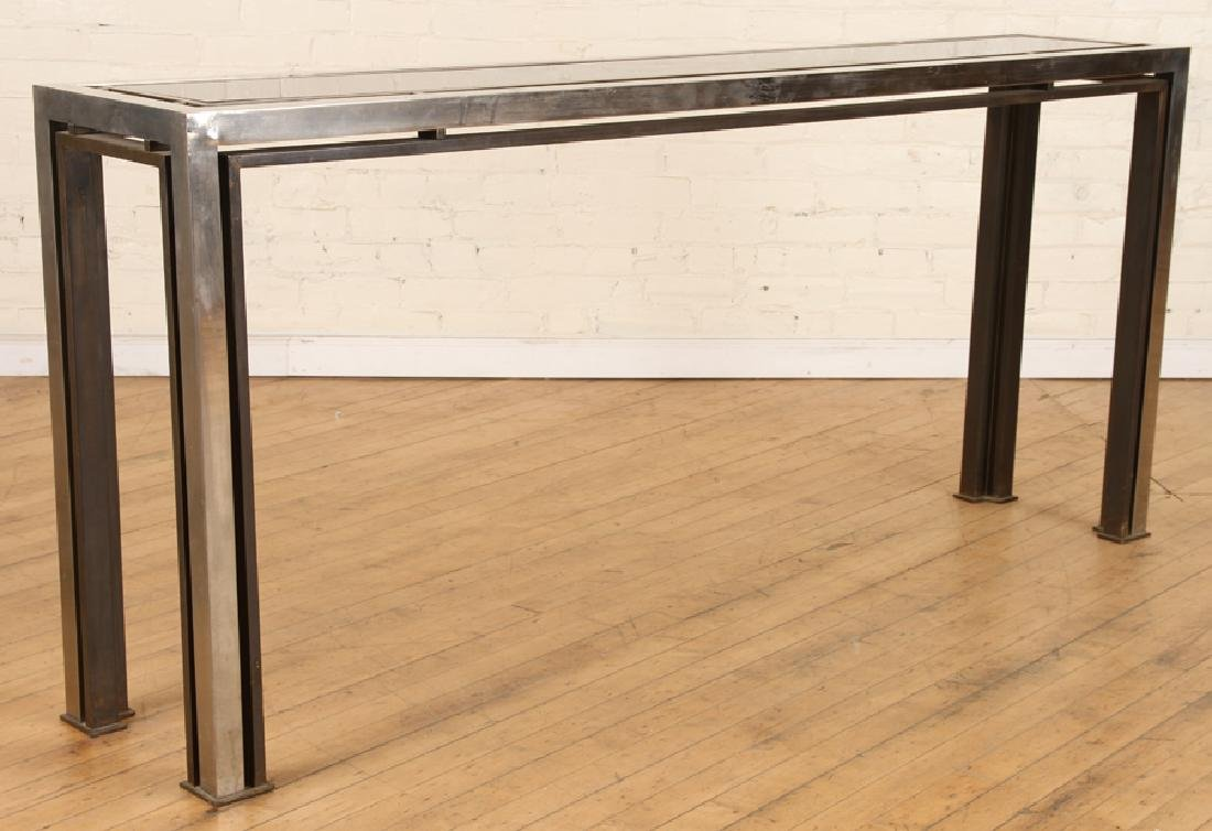 CHROME CONSOLE/SOFA TABLE WITH GLASS INSET 1980