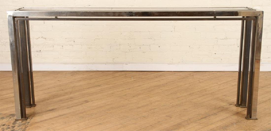 CHROME CONSOLE/SOFA TABLE WITH GLASS INSET 1980 - 2