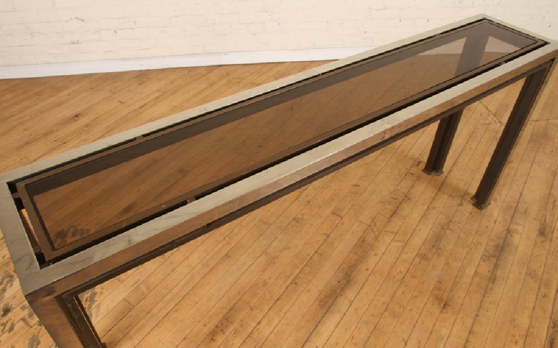 CHROME CONSOLE/SOFA TABLE WITH GLASS INSET 1980 - 3