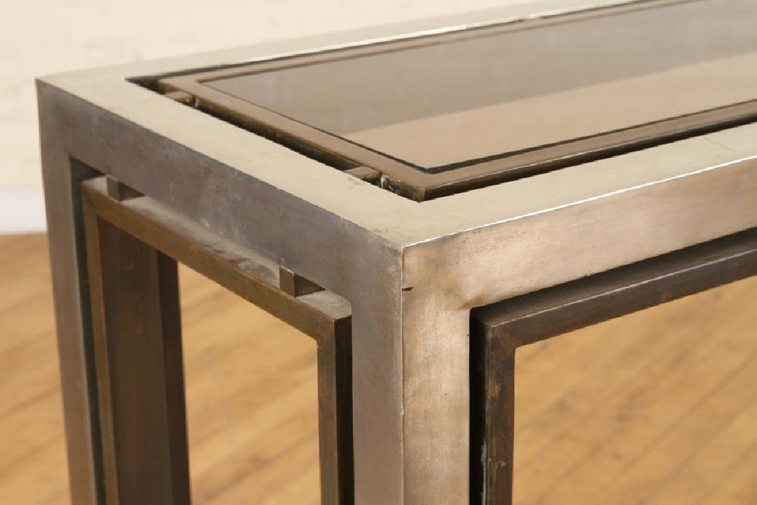 CHROME CONSOLE/SOFA TABLE WITH GLASS INSET 1980 - 4