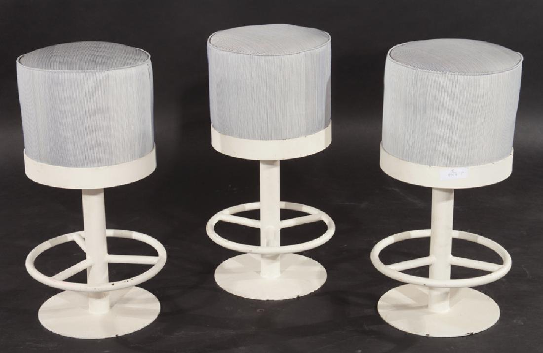 SET OF 3 MID CENTURY MODERN IRON BAR STOOLS C1980